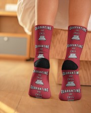 Quarantine and Chill - Red Version Crew Length Socks aos-accessory-crew-length-socks-lifestyle-back-01