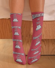 Quarantine and Chill - Red Version Crew Length Socks aos-accessory-crew-length-socks-lifestyle-front-02