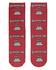 Quarantine and Chill - Red Version Crew Length Socks front