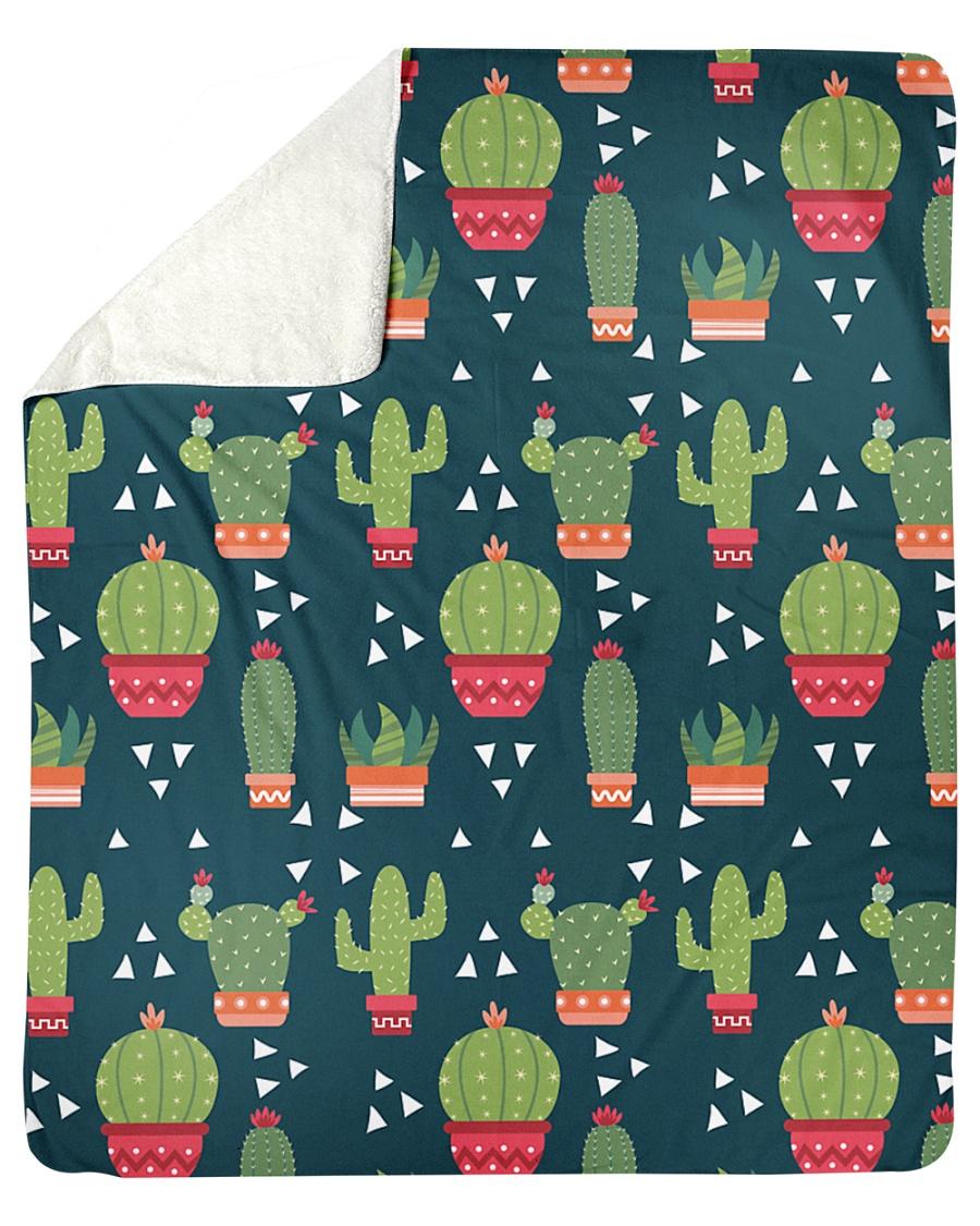 """Cactus Pattern Sherpa Fleece Blanket - 50"""" x 60"""""""