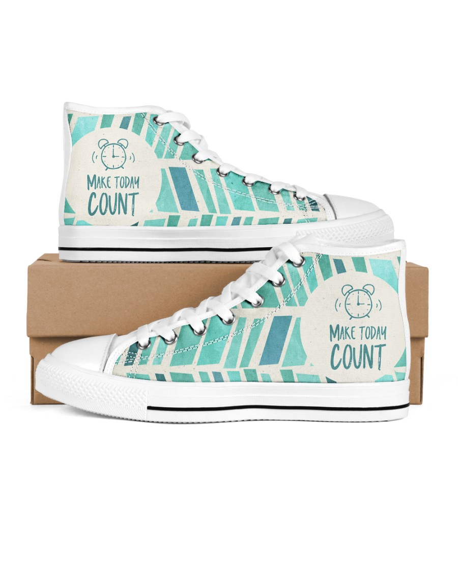 Make Today Count Men's High Top White Shoes