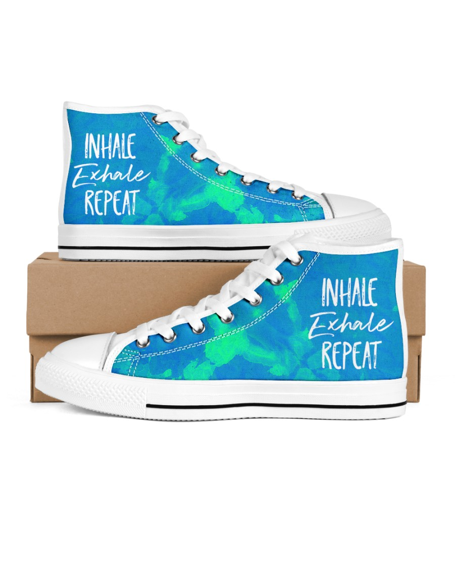 Inhale Exhale Repeat Men's High Top White Shoes