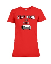 Stay at Home - Red Version Premium Fit Ladies Tee thumbnail