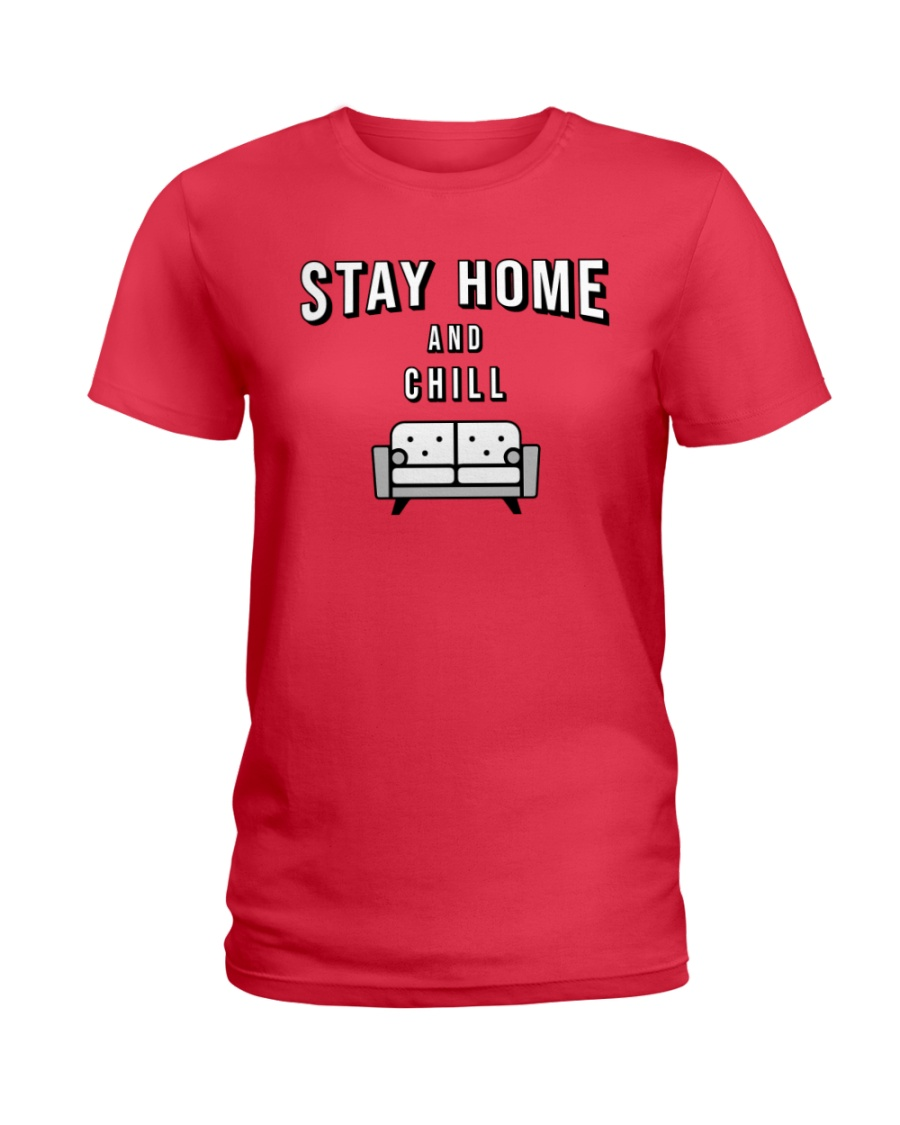 Stay at Home - Red Version Ladies T-Shirt