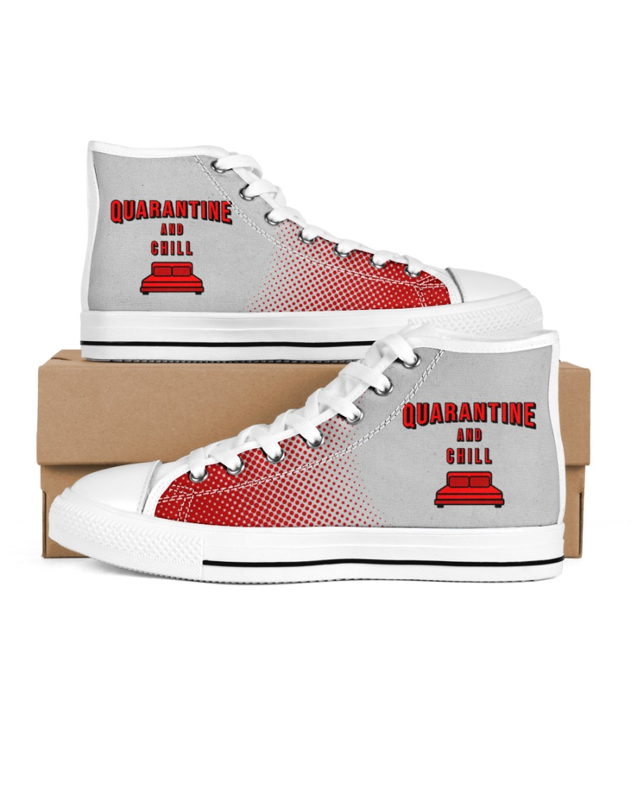 Quarantine and Chill Men's High Top White Shoes