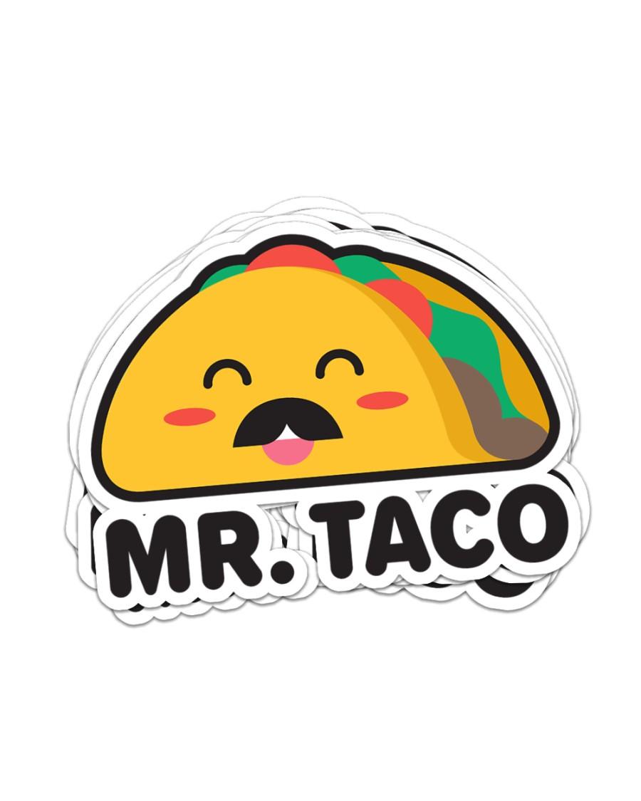Mr Taco Sticker - 6 pack (Horizontal)