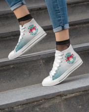 My Kitchen is my Happy Place Women's High Top White Shoes aos-complex-women-white-top-shoes-lifestyle-04