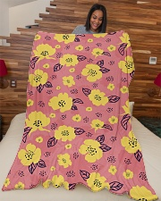 "Yellow Flowers Large Fleece Blanket - 60"" x 80"" aos-coral-fleece-blanket-60x80-lifestyle-front-04"