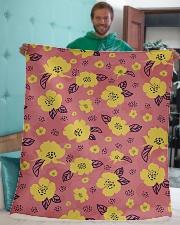 "Yellow Flowers Sherpa Fleece Blanket - 50"" x 60"" aos-sherpa-fleece-blanket-50x60-lifestyle-front-05"