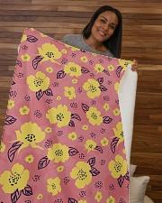 "Yellow Flowers Sherpa Fleece Blanket - 50"" x 60"" aos-sherpa-fleece-blanket-50x60-lifestyle-front-09b"