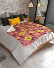 "Yellow Flowers Sherpa Fleece Blanket - 50"" x 60"" aos-sherpa-fleece-blanket-lifestyle-front-02"