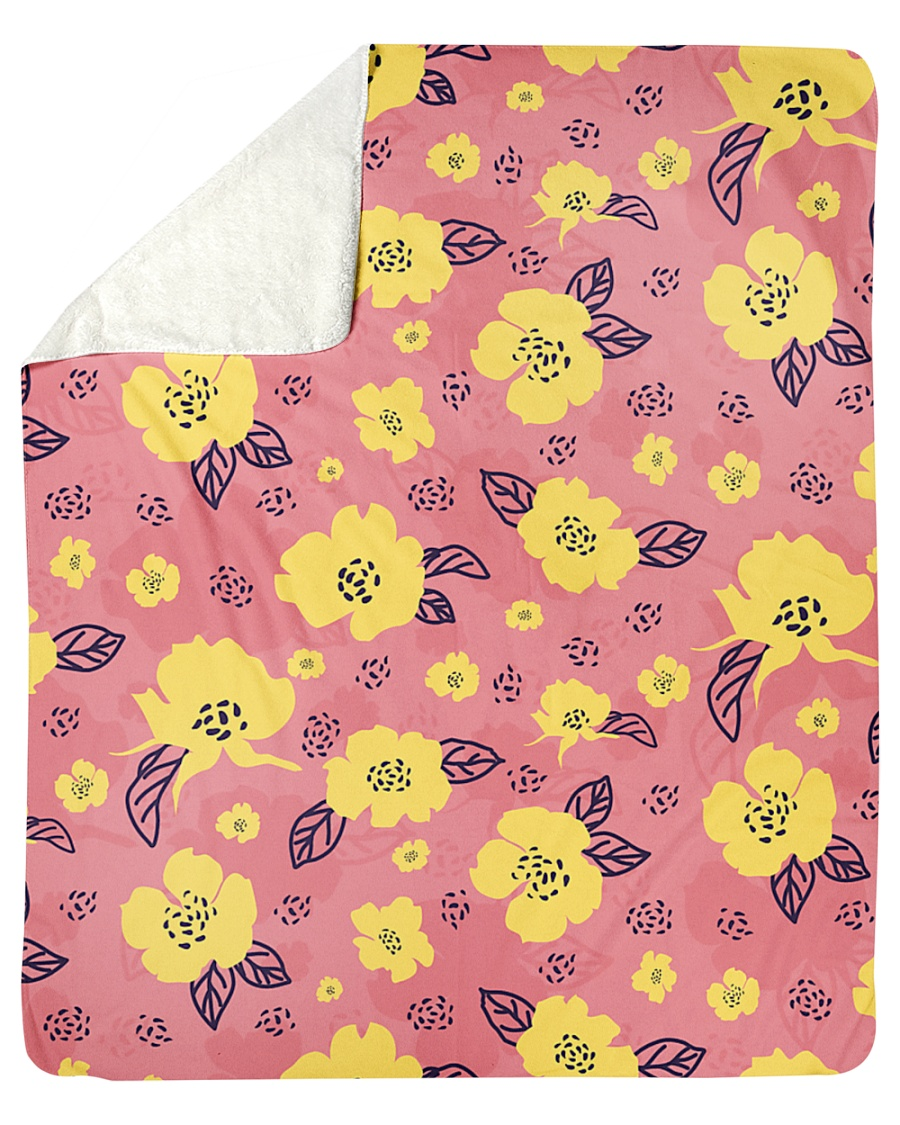 "Yellow Flowers Sherpa Fleece Blanket - 50"" x 60"""