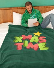 "It Is Xmas Time Large Fleece Blanket - 60"" x 80"" aos-coral-fleece-blanket-60x80-lifestyle-front-06"