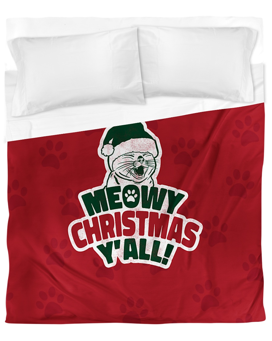 Meowy Christmas You All Duvet Cover - Queen