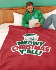 "Meowy Christmas You All Large Fleece Blanket - 60"" x 80"" aos-coral-fleece-blanket-60x80-lifestyle-front-06"