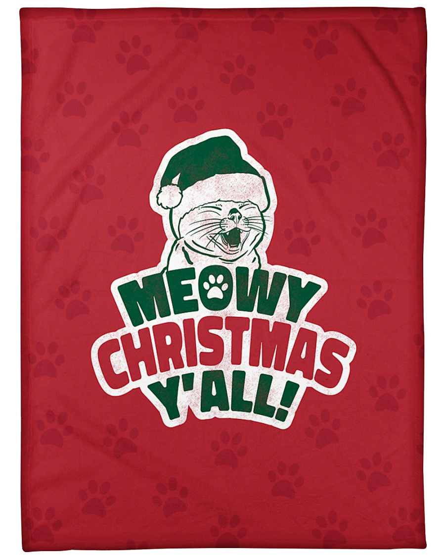 "Meowy Christmas You All Large Fleece Blanket - 60"" x 80"""