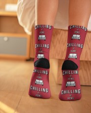 Chilling at Home - Red Version Crew Length Socks aos-accessory-crew-length-socks-lifestyle-back-01