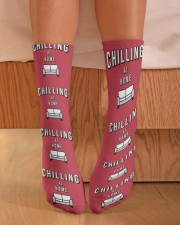 Chilling at Home - Red Version Crew Length Socks aos-accessory-crew-length-socks-lifestyle-front-02