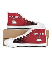 Stay Home and Chill - Red Version Men's High Top White Shoes thumbnail