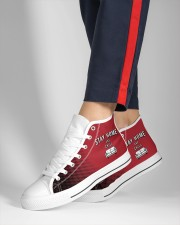 Stay Home and Chill - Red Version Women's High Top White Shoes aos-complex-men-white-high-top-shoes-lifestyle-inside-left-outside-left-14