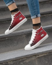 Stay Home and Chill - Red Version Women's High Top White Shoes aos-complex-women-white-top-shoes-lifestyle-04