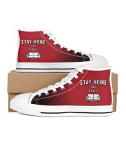 Stay Home and Chill - Red Version Women's High Top White Shoes outside-right-inside-right