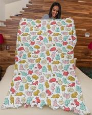 "Kittens Pattern Large Fleece Blanket - 60"" x 80"" aos-coral-fleece-blanket-60x80-lifestyle-front-04"