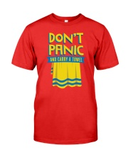 Don't Panic And Carry A Towel Premium Fit Mens Tee front