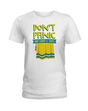 Don't Panic And Carry A Towel Ladies T-Shirt thumbnail