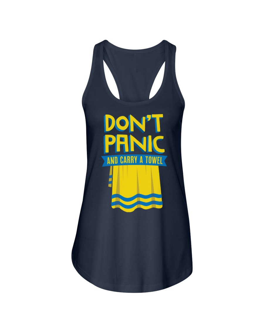 Don't Panic And Carry A Towel Ladies Flowy Tank