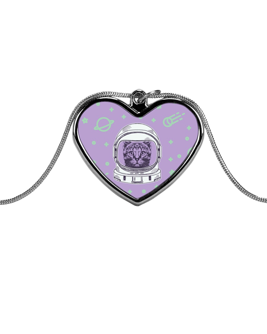Catstronaut Metallic Heart Necklace