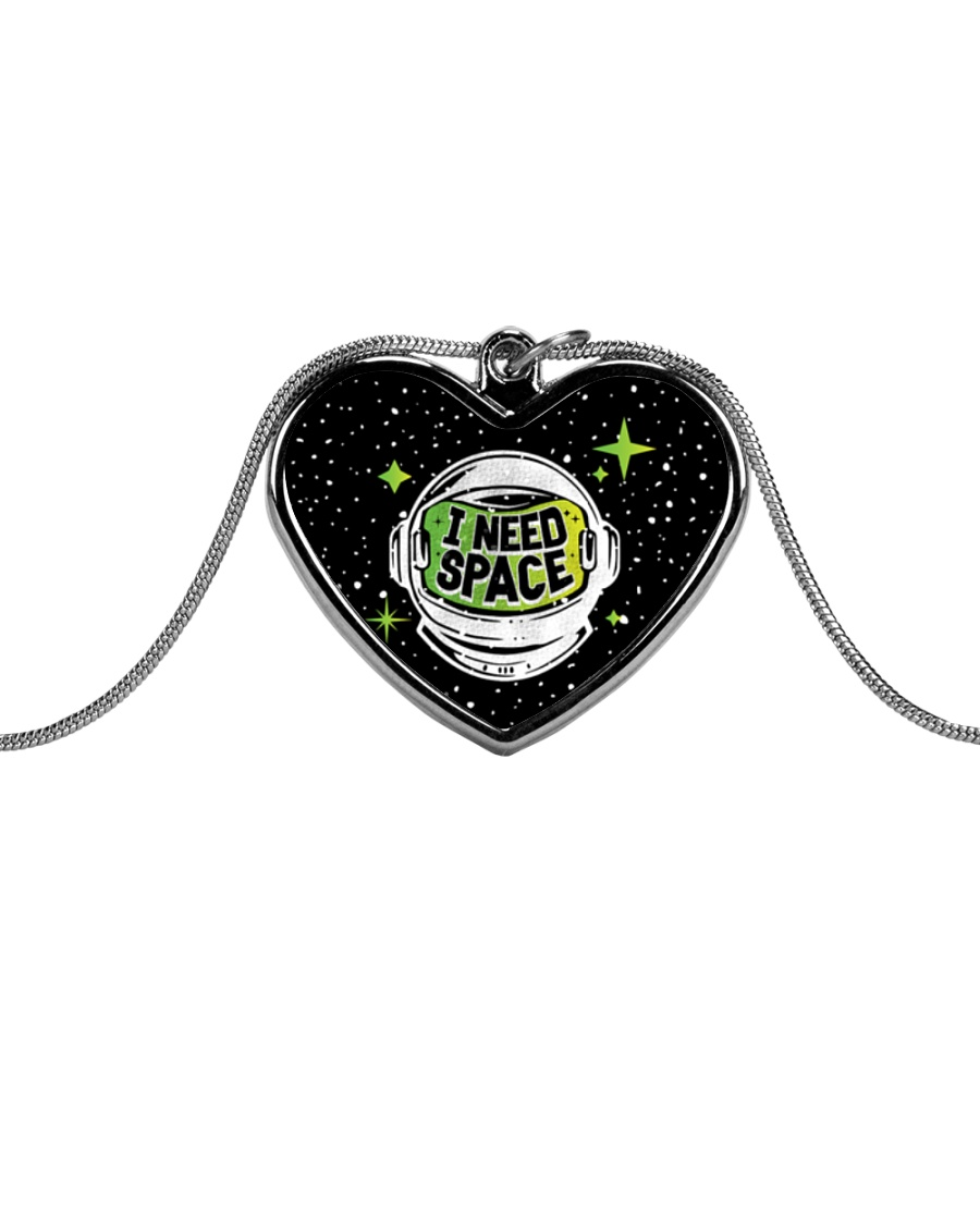 I Need Space Metallic Heart Necklace