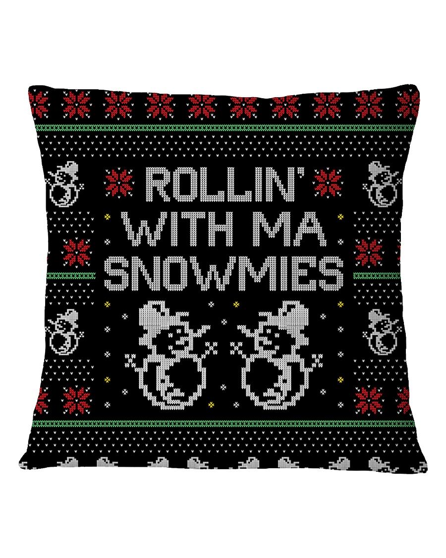 Rollin' With Ma Snowmies Square Pillowcase