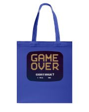 Game Over Continue Tote Bag back