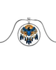 Native Feather Dreamcatcher 08 Metallic Circle Necklace front