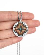 Native American Mandala 08 Metallic Circle Necklace aos-necklace-circle-metallic-lifestyle-10
