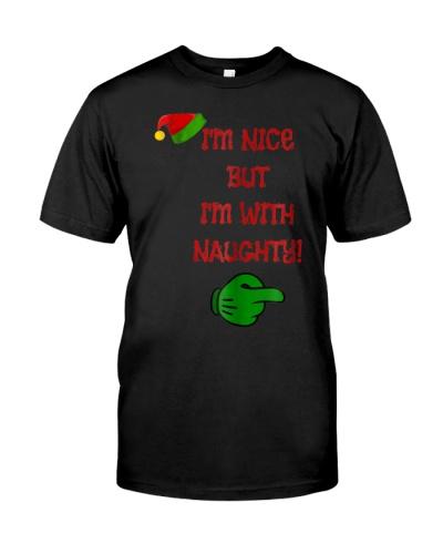 Christmas Im Nice But Im With Naughty Tee T Tshirt