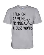 I RUN ON CAFFEINE FISHING V-Neck T-Shirt thumbnail