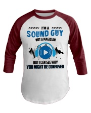 Sound Guy Not Magician Baseball Tee front