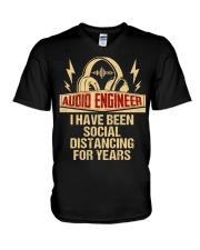 Audio Engineer I Have Been Social Distancing V-Neck T-Shirt thumbnail
