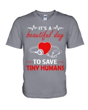 It's A Beautyful Day To Save Tiny Humans V-Neck T-Shirt thumbnail