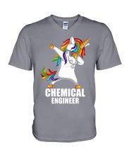 Chemical Engineer Unicorn Dabbing V-Neck T-Shirt thumbnail