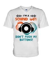 Sound Guy Dont Push My Button V-Neck T-Shirt thumbnail