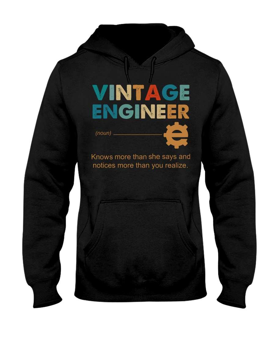 Vintage Engineer Knows More Than She Says Hooded Sweatshirt