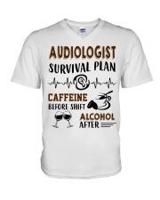 Audiologist Survival Plan Caffeine Alcohol V-Neck T-Shirt thumbnail