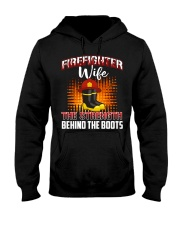 Firefighter Wife The Strength Behind The Boots Hooded Sweatshirt front