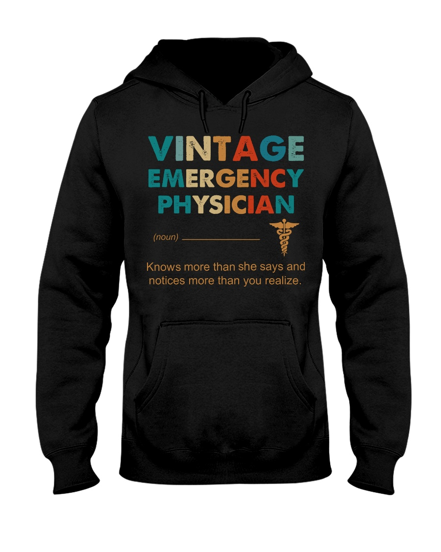 Vintage Emergency Physician Knows More Than She Hooded Sweatshirt