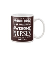 Proud Boss Of Awesome Nurses Funny Gift For Boss Mug tile