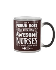 Proud Boss Of Awesome Nurses Funny Gift For Boss Color Changing Mug tile