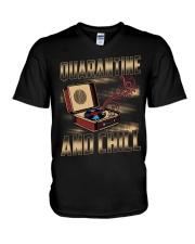 Quarantine and Chill Vinyl V-Neck T-Shirt thumbnail